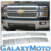 14-15 Chevy Silverado 1500 HoneyComb CHROME Billet Grille Grill Overlay Insert