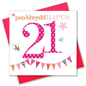 Welsh Birthday Card, Penblwydd Hapus, Pink Age 21, Happy 21st Birthday