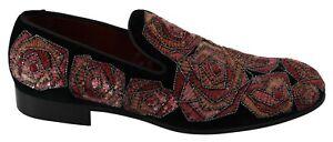 DOLCE & GABBANA Shoes Loafers Black Velvet Sequined Men s. EU44 / US11