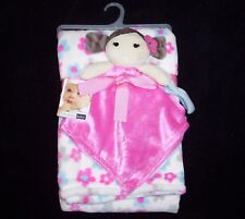 NEW Vitamins Pink Blue Flowers Pigtails Doll Baby Blanket Set 2 Piece
