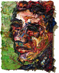 MODERN IMPRESSIONIST ART SIGNED THICK OIL PAINTING ABSTRACT PORTRAIT OUTSIDER NR