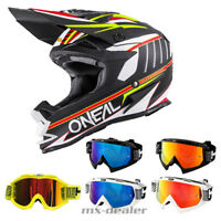O'Neal 7series EVO Chaser weiss Crosshelm Helm MX Motocross HP7 Brille S M L XL