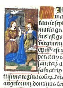 Ca.1500 Liturgical Book lf.vellum,handpainted miniature of the Annuntiation