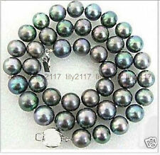 Natural 9-10mm tahitian peacock green pearl necklace 18inch