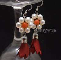 6-7mm Round White Natural Pearl & 20*30mm Red Silk Flower Tassel Earring-ear591