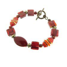 "Red Art Glass Bead Toggle Bracelet 0.5 x 8.2"""