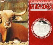 1 oz 999 Silver Lunar II 2009 Ox Proof Year of the Ochsen 2009 PF IN BOX AND COA