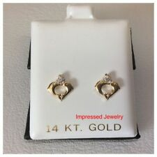 14k Yellow Gold Polished Heart Dolphins CZ Post Stud kids baby Earring screwback