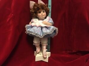 Marie Osmond  Doll Blue Dress Pink Hearts Striped Socks Star Stand