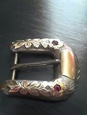 Vintage Don Ricardo 10k Yellow Gold and Sterling Silver Belt Buckle w/ Rubies