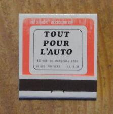 Pochette d'allumettes complète Tout pour l'Auto, années 1970-1980