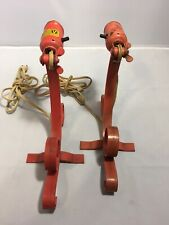 Original Pair Mid Century Wall Sconce Light Fixtures Wrought Iron Vtg Working