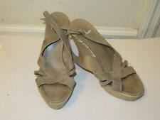 WOMENS CASTANER GRAY SUEDE ANKLE BUCKLE SANDAL WEDGES SIZE 38