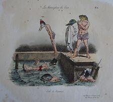 GRANDVILLE : Les métamorphoses du jour. N°6 «Ecole de natation. «. Lith. Langlum