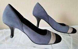 Women's Pumps Cole Haan Suede Shoe Size 7.5 B Blue Brown Kitten Heel Round Toe