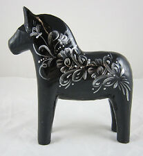"NEW! Grannas A. Olsson 5"" (13cm) Kurbitz Black & Silver Dala Horse Swedish"
