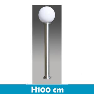 LAMPIONE LANTERNA SEGNAVIALI ESTERNO GIARDINO SILVER VETRO BIANCO H100 E27