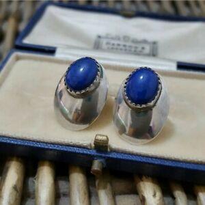 Blue Sodalite Vintage Sterling Silver Stud Earrings Signed H. WOOD