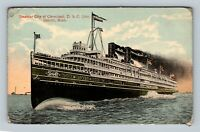 Detroit MI, Steamer City Of Cleveland, Vintage Michigan Postcard
