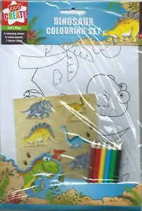 Dinosaur Party Colouring Set + Stickers & Pencils - Cute Dinosaur Jurassic Party