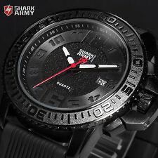 SHARK ARMY Luxury Men Black Dial Date Silicone Quartz Military Sport Wrist Watch