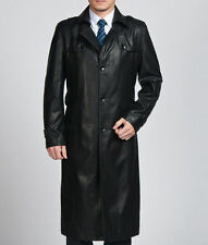 2016 Mens Genuine Leather Long Jacket Coat Trench Outwear Overcoat Parkas