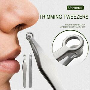 Nose Hair Trimming Tweezers Stainless Steel Trimmer w/Round Tip Eyebrow Tweezers