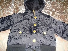 Baby Phat Girls Black Quilted Hooded Puffer Faux Fur Trim Coat Jacket Size 3T