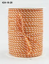 MAY ARTS RIBBONS~SOLID DIAGONAL STRIPE~ORANGE & WHITE~1/8TH INCH WIDE X 3 YARDS!