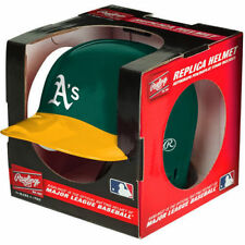 OAKLAND A'S ATHLETICS RAWLINGS MINI BATTING BASEBALL HELMET WITH DISPLAY STAND