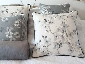 """New Season Laura Ashley Iona Silver Fabric 16"""" Cushion Cover Piped In  Grey"""