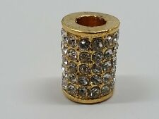 Alloy Rhinestone European Column Bead. Golden Metal Color, Crystal 12x9mm