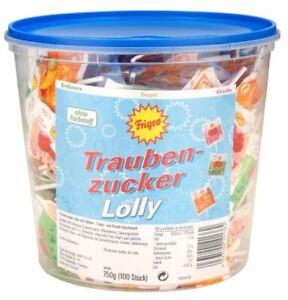 (7,99€ / 1kg) Frigeo Traubenzucker Lollys / Lutscher 100 Stück = 750g