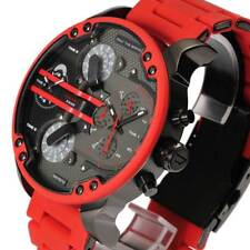New Diesel DZ7370 Chronograph Multiple Time Zone Red Silicon Strap Men's Watch