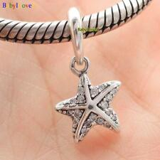 925 Sterling Silver Tropical Starfish Clear CZ Dangle Charm Pendant Fit Bracelet