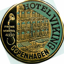 Hote Viking ~COPENHAGEN DENMARK~ Striking Old DECO Metallic Luggage Label, 1955