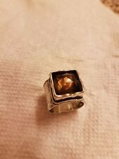 SILPADA Sterling Silver hammered,oxidized smokeyQuartz Ring sz 7 gorgeous