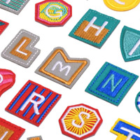 Shaped Letter Patches Iron on Sew on Alphabet Tessel Embroidered Kids Fun Patch