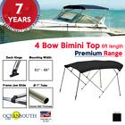 4 Bow Bimini Top Premium Range 61 - 66 Width 8ft Long Black With Rear Poles