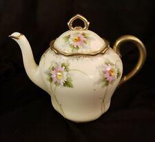 PM Bavaria Handpainted Teapot Porcelain Moschendorf Bavaria Germany Gold Floral