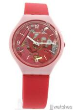 New Swatch SKINAMOUR Pink Silicone Skin Women Watch 37mm SVOP100 $115