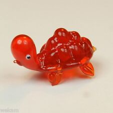 Glass Blown Art Figurine Animal Mini Red Turtle  Murano Style # 4365