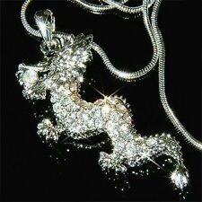 Dragon made with Swarovski Crystal Chinese Amulet Oriental Gothic Chain Necklace