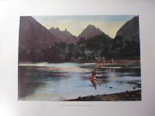 iles sous le vent/Gravure 19°in folio couleur/ Baie de l'Ile (pêche au harpon)