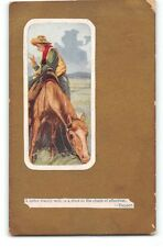 Cowboy-Western-Martin Tupper Quote-Horse-Antique Greeting Postcard