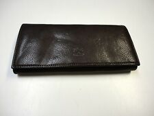 IL BISONTE Chocolate Brown Pebbled Leather Casual Long Wallet Size O/S B5149