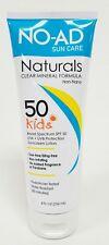 NO-AD Naturals SPF 50 Kids Sunscreen Lotion Clear Mineral Formula 8 Oz