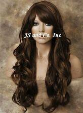 HEAT SAFE HUMAN HAIR Blend Heat OK Wig Dark Brown Auburn Long Wavy WBNY 4-27