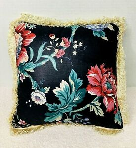 Stunning English Black Background Floral w Butterfly Chintz Pillow w Cream Trim