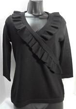 BANANA REPUBLIC black 100% merino wool knit ruffle v-neck sweater top petite S